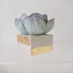 Socle en béton décoré d'or sur lequel est posé une fleur de pivoine séchée
