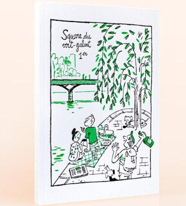 Carnet à dessin avec couverture en letterpress, visuel représentant le square du Vert Galant