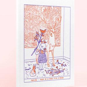 Carnet à croquis avec couverture en letterpress illustrée par l'artiste Amandine Meyer. L'illustration de couverture représente le musée de la Chasse et de la Nature