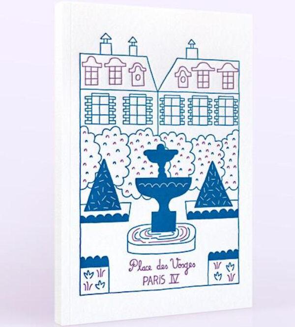 Carnet de note original dont la couverture en letterpress représente la place des Vosges