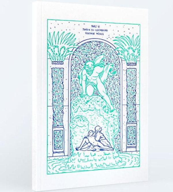 Carnet illustré en couverture par Amandine Meyer. L'image imprimée en letterpress représente le jardin du Luxembourg