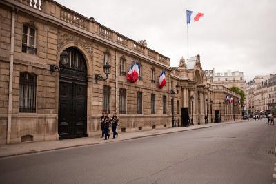 Entrée du Palais de l'Elysée, située rue du faubourg saint Honoré à Paris
