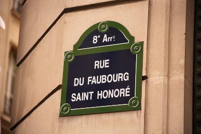 Plaque de la rue du faubourg saint Honoré dans le 8ème arrondissement de Paris
